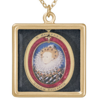Portrait of Queen Elizabeth I (w/c on vellum) Gold Plated Necklace