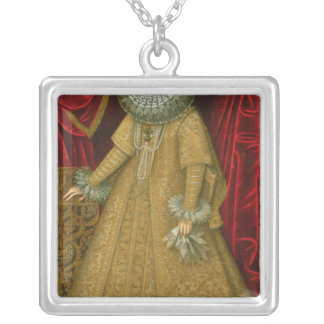Portrait of Queen Isabel Clara Eugenia Silver Plated Necklace