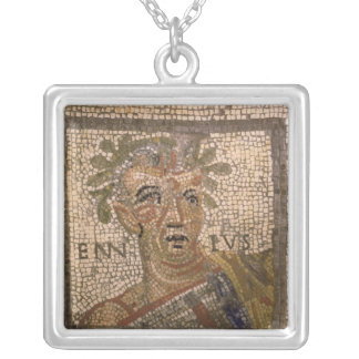 Portrait of Quintus Ennius Silver Plated Necklace