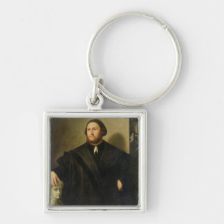 Portrait of Raphaele Grassi (oil on canvas) Silver-Colored Square Keychain