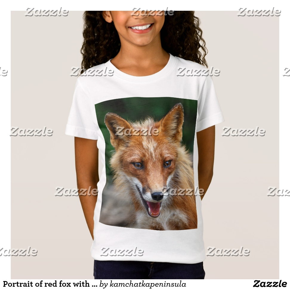 Portrait of red fox with slightly open mouth T-Shirt - Comfortable Kids' Long Sleeve T-Shirt Designs