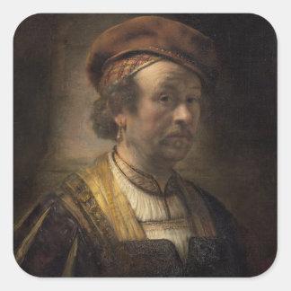 Portrait of Rembrandt, 1650 (oil on canvas) Square Sticker