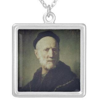 Portrait of Rembrandt's Father Square Pendant Necklace