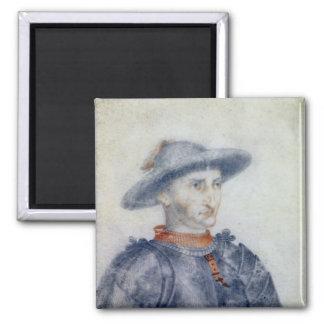 Portrait of Rene I  Duke of Anjou 2 Inch Square Magnet