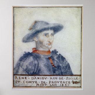 Portrait of Rene I  Duke of Anjou Posters