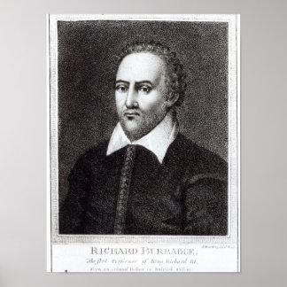 Portrait of Richard Burbadge Print
