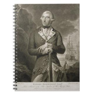 Portrait of Richard Kempenfelt (1718-82) Rear-Admi Notebook