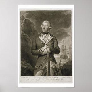Portrait of Richard Kempenfelt 1718-82 Rear-Admi Poster