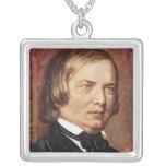 Portrait of Robert Schumann Square Pendant Necklace