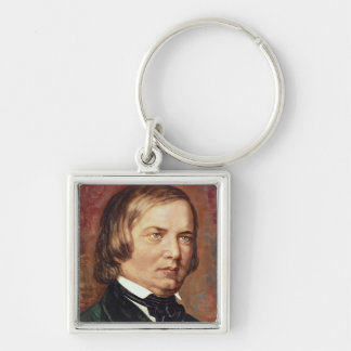 Portrait of Robert Schumann Silver-Colored Square Keychain