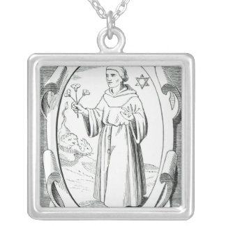 Portrait of Roger Bacon Silver Plated Necklace
