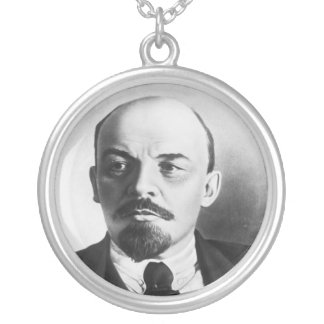 Portrait of Russian Vladimir Ilyich Lenin Silver Plated Necklace