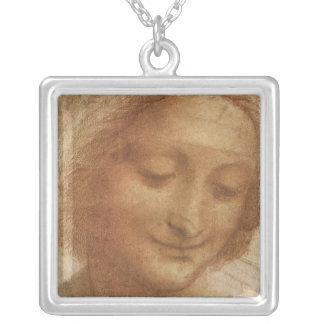 Portrait of Saint Anne by Leonardo da Vinci Square Pendant Necklace