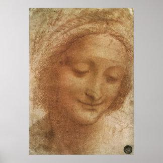 Portrait of Saint Anne by Leonardo da Vinci Poster