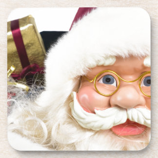Portrait of Santa Claus face and presents Beverage Coaster