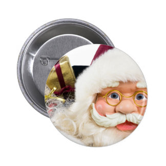 Portrait of Santa Claus face and presents Pinback Button