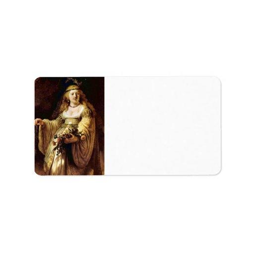 Portrait of Saskia as Flora by Rembrandt Address Label
