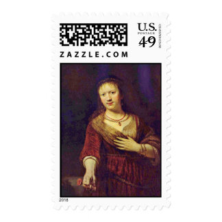 Portrait Of Saskia With A Flower By Rembrandt Stamps