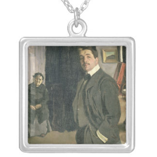 Portrait of Sergei Pavlovich Diaghilev Silver Plated Necklace