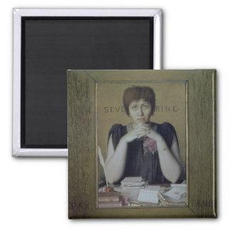 Portrait of Severine (Caroline Remy) (1855-1929) ( 2 Inch Square Magnet