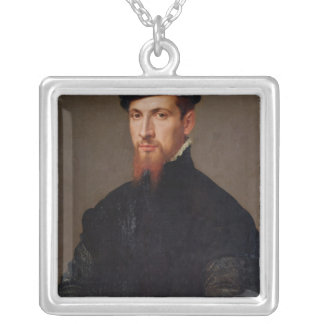 Portrait of Simon Renard  1553 Silver Plated Necklace