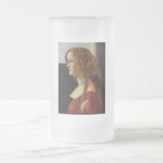 Portrait of Simonetta Vespucci by Botticelli Frosted Glass Beer Mug