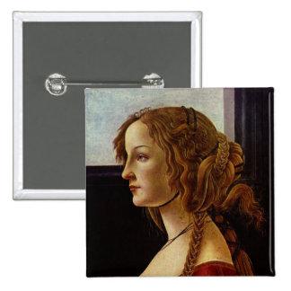 Portrait of Simonetta Vespucci by Botticelli Pinback Button