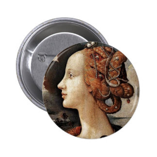 Portrait Of Simonetta Vespucci By Piero Di Cosimo Pinback Buttons