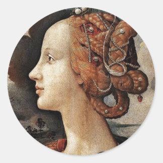 Portrait Of Simonetta Vespucci By Piero Di Cosimo Classic Round Sticker