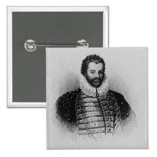 Portrait of Sir Christopher Hatton Pinback Button