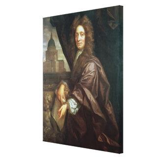 Portrait of Sir Christopher Wren (oil on canvas) Canvas Print
