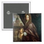 Portrait of Sir Christopher Wren (oil on canvas) Pinback Button