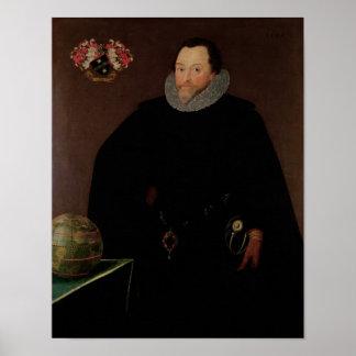 Portrait of Sir Francis Drake  1591 Poster