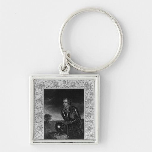 Portrait of Sir Jeffrey Amherst Silver-Colored Square Keychain