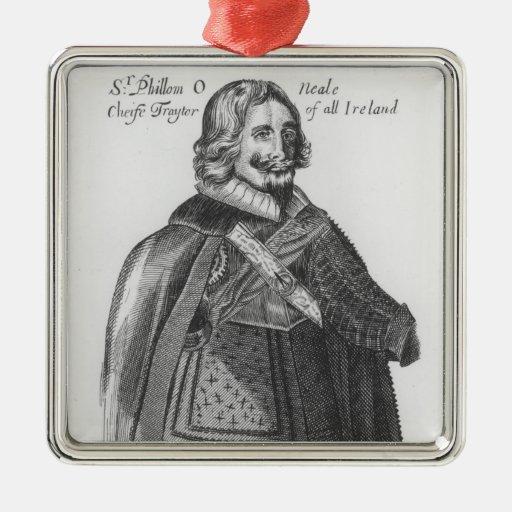 Portrait of Sir Phillom O'Neale Square Metal Christmas Ornament