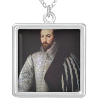 Portrait of Sir Walter Raleigh  1588 Square Pendant Necklace