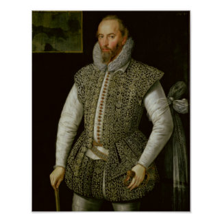 Portrait of Sir Walter Raleigh, 1598 Poster