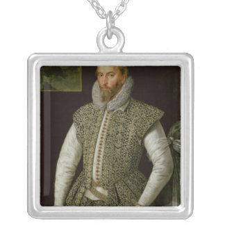 Portrait of Sir Walter Raleigh, 1598 Silver Plated Necklace