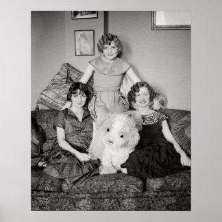 Portrait of Sisters, 1924. Vintage Photo Poster