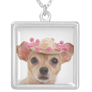 Portrait of small dog in sombrero silver plated necklace