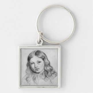 Portrait of Solange Sand Silver-Colored Square Keychain