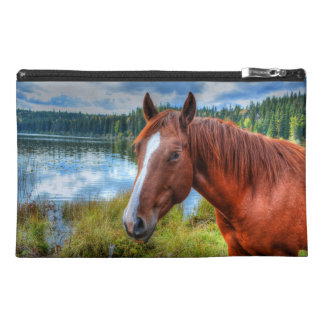 Portrait of Sorrel Mare & Scenic Lake Equine Photo Travel Accessory Bags