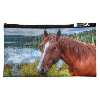 Portrait of Sorrel Mare & Scenic Lake Equine Photo Cosmetic Bags