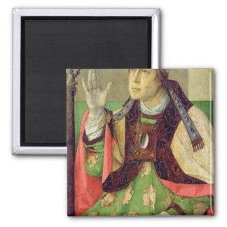 Portrait of St. Augustine, c.1475 2 Inch Square Magnet