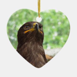 Portrait of steppe eagle ceramic ornament