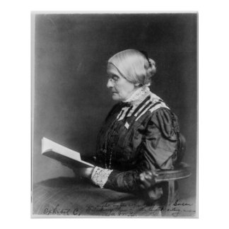 Portrait of Susan B. Anthony Reading a Book Poster