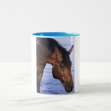 anakondasp portrait of swimming horse Two-Tone coffee mug