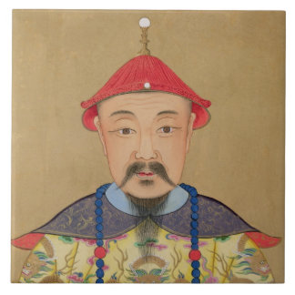 Portrait of T'ai T'sin Che-Tsou (1638-61) Tile