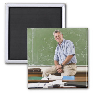 Portrait of teacher sitting on desk in front of magnet