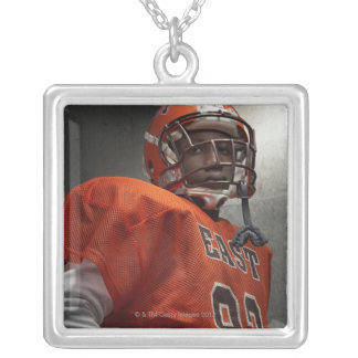 Portrait of teenage (14-15) American football Silver Plated Necklace